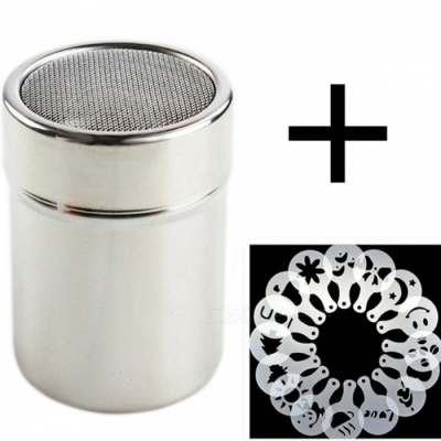 1Pc Stainless Steel Chocolate Shaker Cocoa Flour Coffee Sifter + 16Pcs Coffee Template Strew Pad Dusters Coffee Accessories Silver