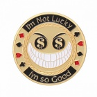 Metal Poker Card Guard Protector I'm Not Luck I Am So Good Gold Plated With Round Plastic Box Metal Craft Poker Chips Poker Game Multicolor