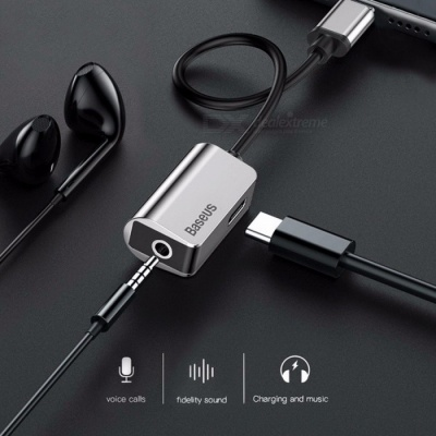 Baseus Type-C Audio Cable Adapter Type C to 3.5mm Jack Earphone Fast Charger USB C Splitter For Xiaomi Mi 6 Huawei Mate 10 Pro 12cm/Silver