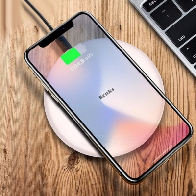 Benks Portable Ultra Slim Qi Wireless Fast Charging Charger for IPHONE X, 8 Plus, Samsung S8 S7 S6 Note 8 White
