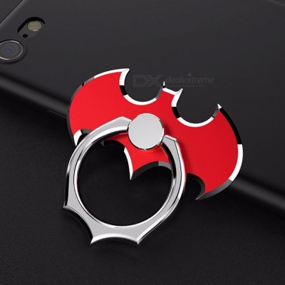 Universal 360 Degree Batman Luxury Metal Phone Finger Ring Holder Stand for IPHONE X 8 Plus 7 6, Samsung S8 N8 Red