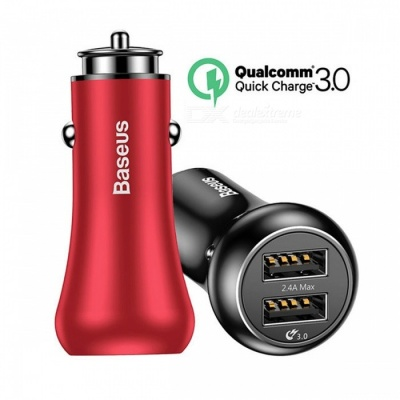 Baseus Quick Charge QC3.0 Car Charger for IPHONE Samsung Xiaomi Phone, Dual USB Fast Charging 5V 3A Car-Charger Black