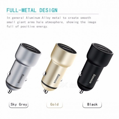 Baseus 3.4A Dual USB LED Car Charger for IPHONE 8 X 7 6 5 Samsung Huawei Xiaomi, Double USB Car-charger Adapter  gray