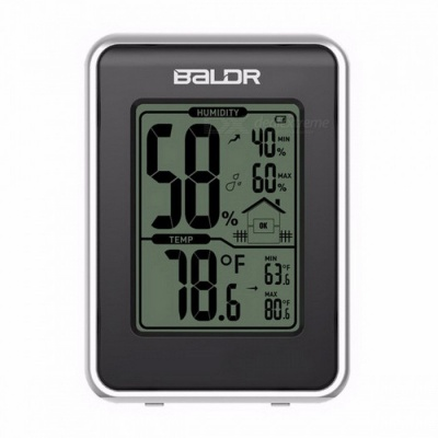 Baldr Electronic Thermometer Hygrometer Station with Current Humidity and Temperature Indicator Digital Display Black