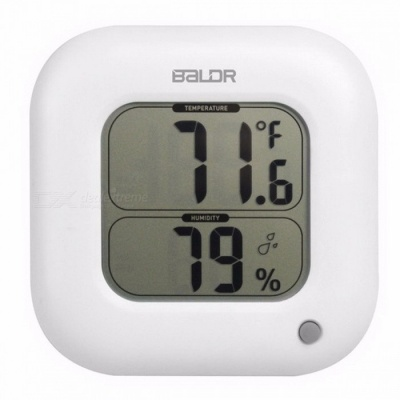 Baldr Square Thermometer Indoor Max/Min Room Temperature Meter Humidity Sensor Gauge Wall Table LCD Display Digital Hygrometer