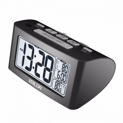 BALDR Digital Nap Timer Alarm Clock, Quick Setting LCD Temperature Display Desktop Table Clock, White Backlight Thermometer
