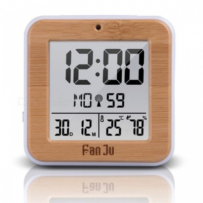 Fanju FJ3533 Multifunction Digital Alarm Clock with Temperature and Humidity Dual Alarm Battery Operated Backlight Snooze Date Wood
