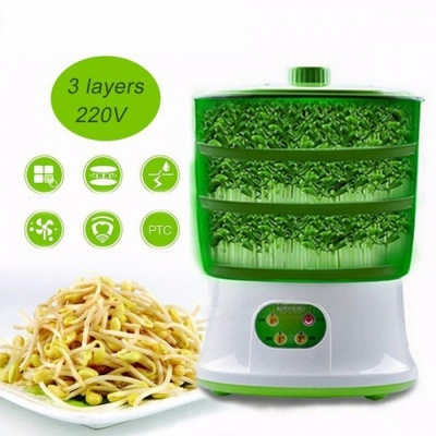Three Layers Automatic Bean Sprout Machine US Plug Multifunctional Homemade Sprout Bud Machine Intelligent Microcomputer Control Green