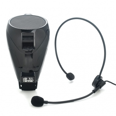 Portable 15W AC Rechargeable Speaker w/ Headset Microphone Loudspeaker Set - Black