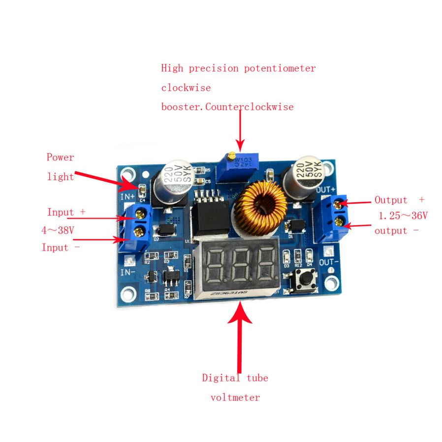 5a 75w Dc Adjustable Step Down Stabilized Voltage Supply Module Boost Converter 150w 10 32v To 12 35v Up Bb 51 General