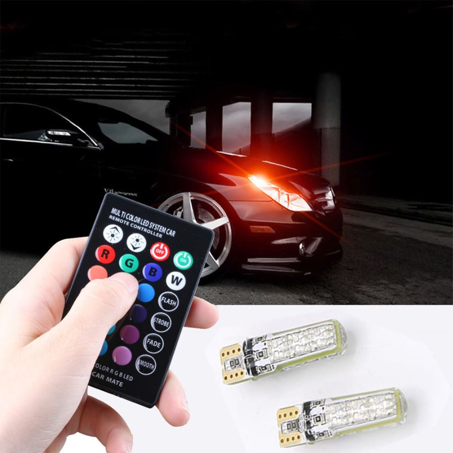 Youoklight 2pcs T10 Rgb Dimming Led Light Bulbs For Car Interior Arduino Camping With Dimmer Multi Applications Dome Map Tail Box Side Marker Back Up Parking Door Turn Signal