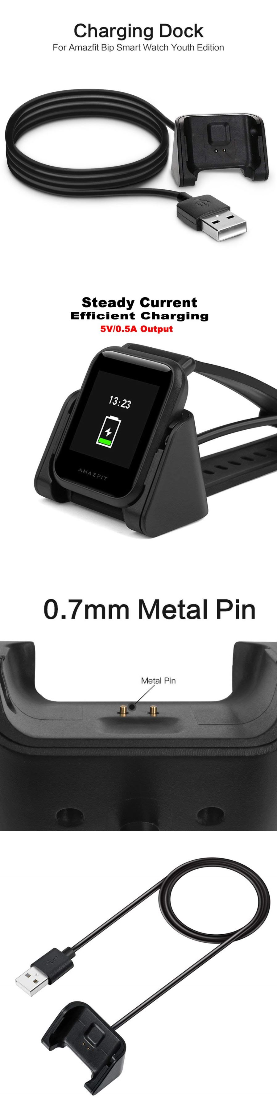Fitness Trackers Usb Fast Charger Charging Dock For Huami Amazfit Xiaomi Replacement Bip Watch Compact And Portable Designgreat Travelers Business Users Power Protection Circuit Included