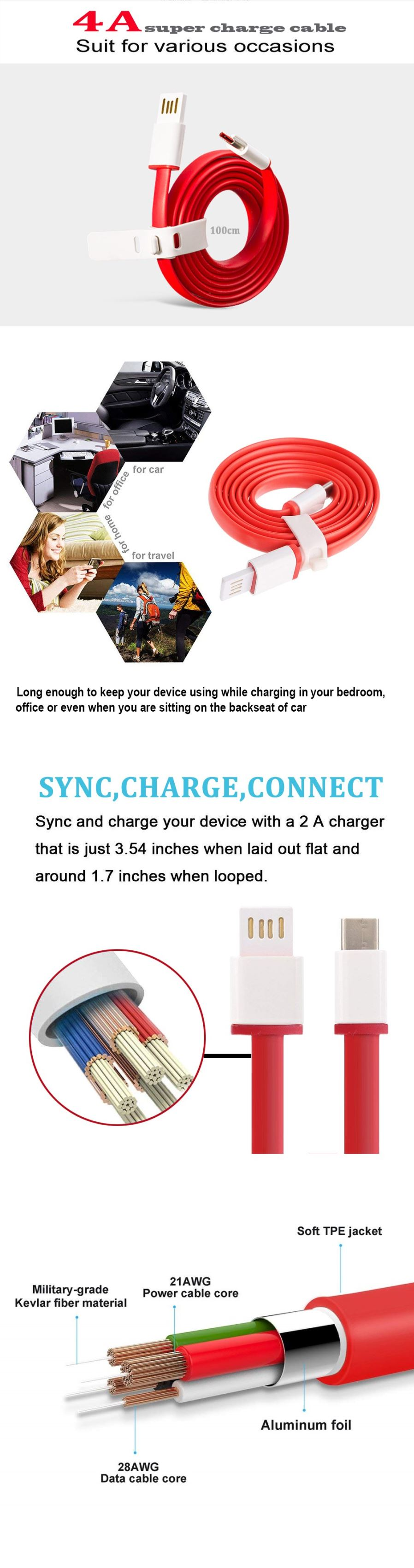 Cables Adaptors Usb Type C 4a Fast Charge Sync Data Cable For Wiring General