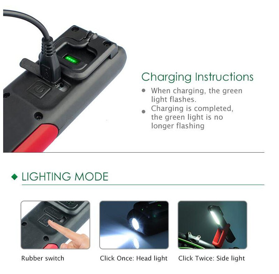 Rechargeable LED Work Light Flashlight Magnetic USB Portable Double Head Lamp
