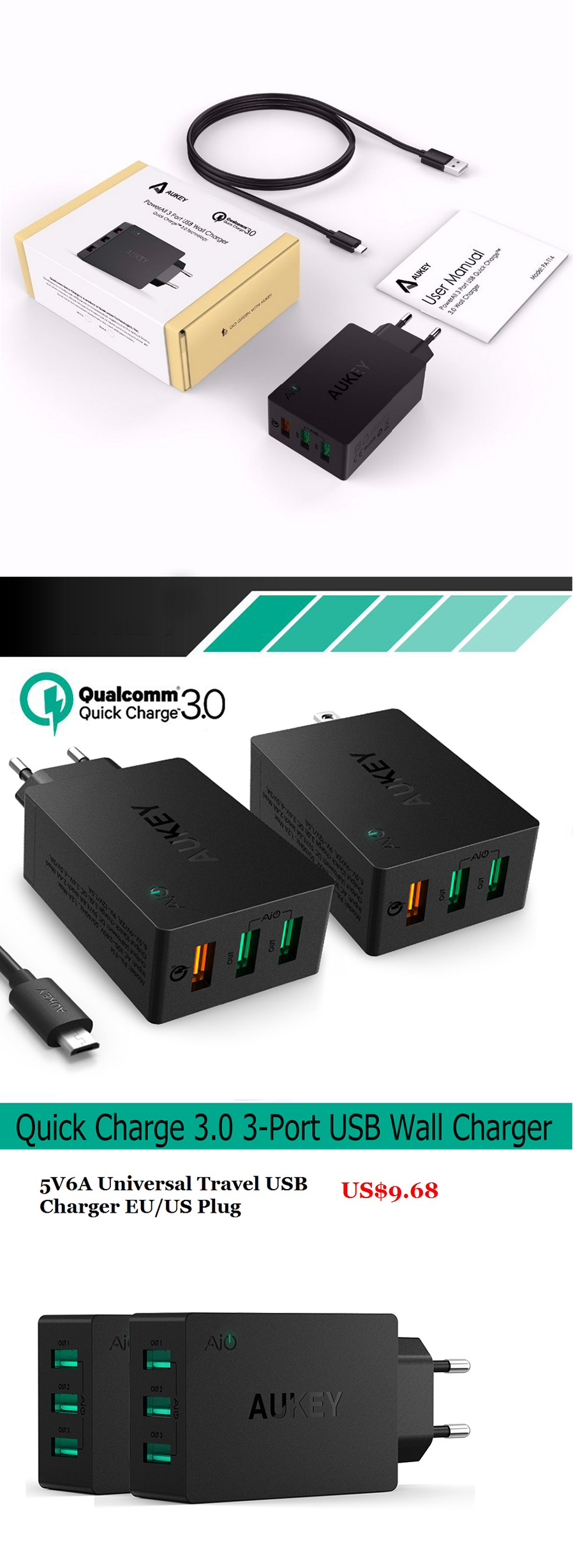 Aukey Pa T14 Quick Charge 3 0 Wall Charger Usb Port Fast Charging Travel Home Adaptor Turbo T9 Qualcomm 30 Original Please Use Your Devices Cable Aukeys Mfi Or Micro For The Best