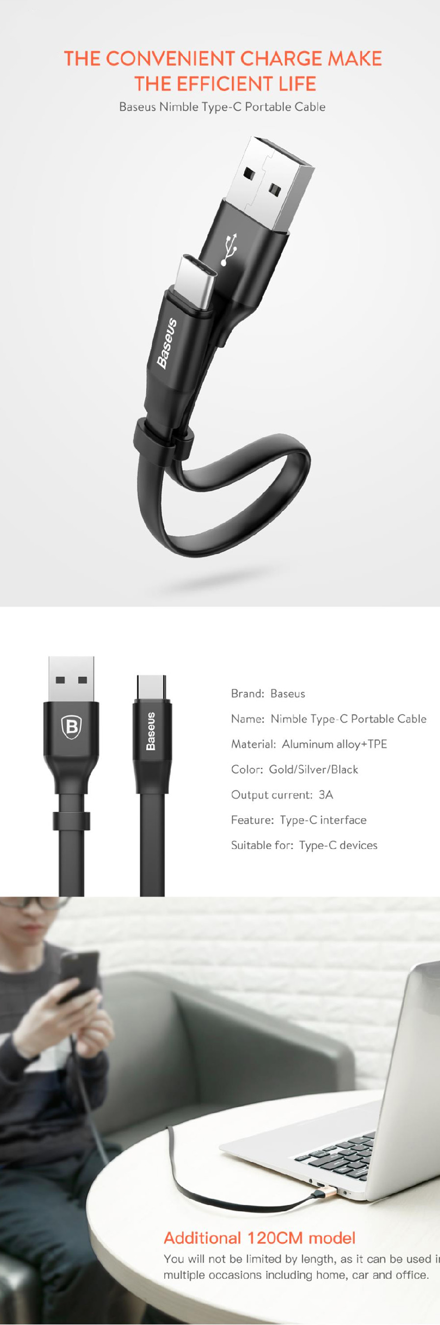 Baseus Nimble Portable 2a Usb Type C Cable Black 12m Free Music Series Audio For Iphone General Brand