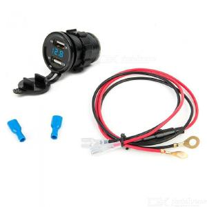 Eastor 3.1A Motorcycle Car Dual USB Charger w/ Green/Red/Blue Light Voltmeter With 60Cm Cable