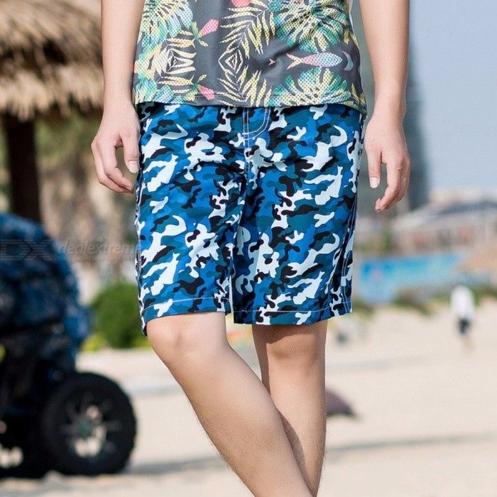 Fashion Men's Casual Camouflage Board Shorts, Casual Quick Dry Large Size Summer Male Beach Shorts, Short Pants - Blue