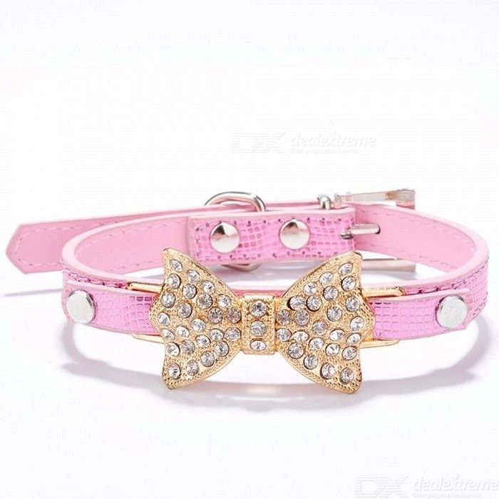 Bow Rhinestone PU Dog Collars Pet Supplies Artificial Diamond Bowknot Dog Leashes Collar - Pink