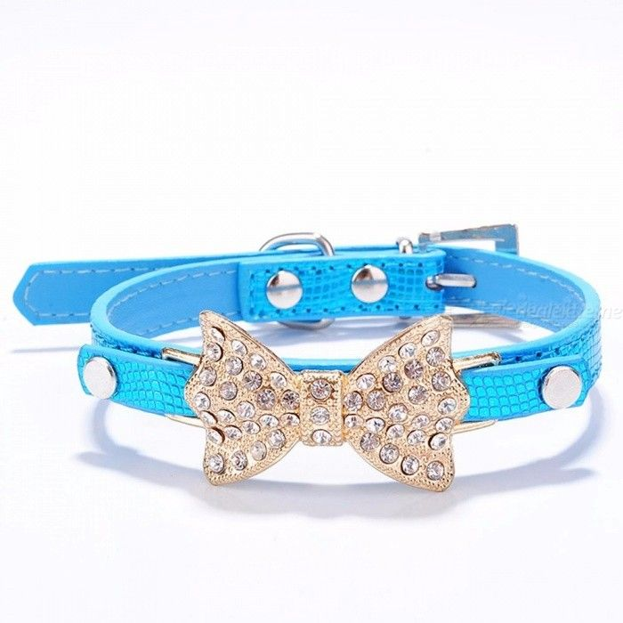 Bow Rhinestone PU Dog Collars Pet Supplies Artificial Diamond Bowknot Dog Leashes Collar - Blue