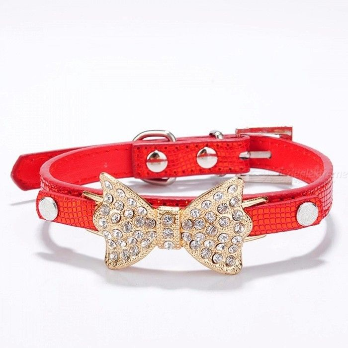 Bow Rhinestone PU Dog Collars Pet Supplies Artificial Diamond Bowknot Dog Leashes Collar - Red