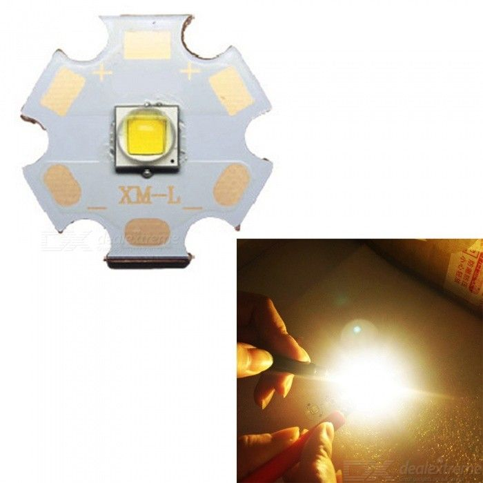 JRLED 20mm PCB 10W Warm White 5050-XML-2 SMD Bright Flashlight Bulb DC 3-3.5V 3A-Emitting ColorWarm White 3000K