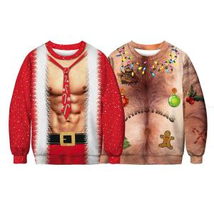 3D Print Christmas Sweaters Unisex O-Neck Casual Novelty Ugly Sexy RED Retro Jumper Loose Warm Sweatshirts