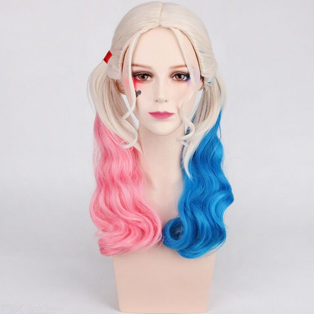 Hair-Harley-Quinn-Cosplay-Wig-Styled-Wavy-Synthetic-Ponytail-High-Temperature-Fiber-Cos-Wigs