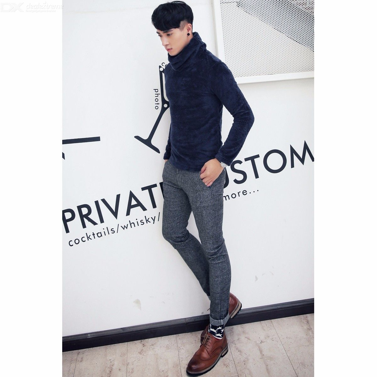 Winter Warm Sweater Men's Thermal High Collar Slim Long Sleeve Sweater Stretch Pullovers
