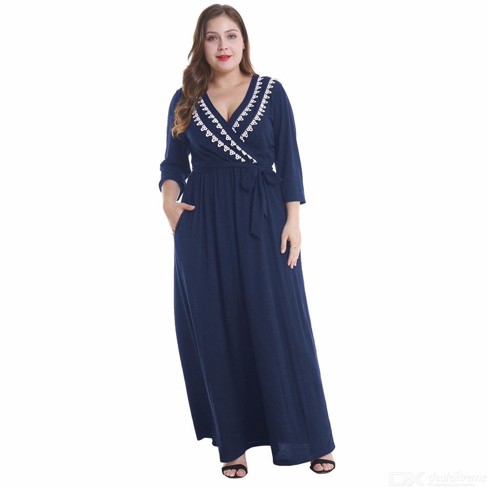 OS024 Womens Wrapped Maxi Dress, V-neck Long Sleeve Dress For Women, Plus Size