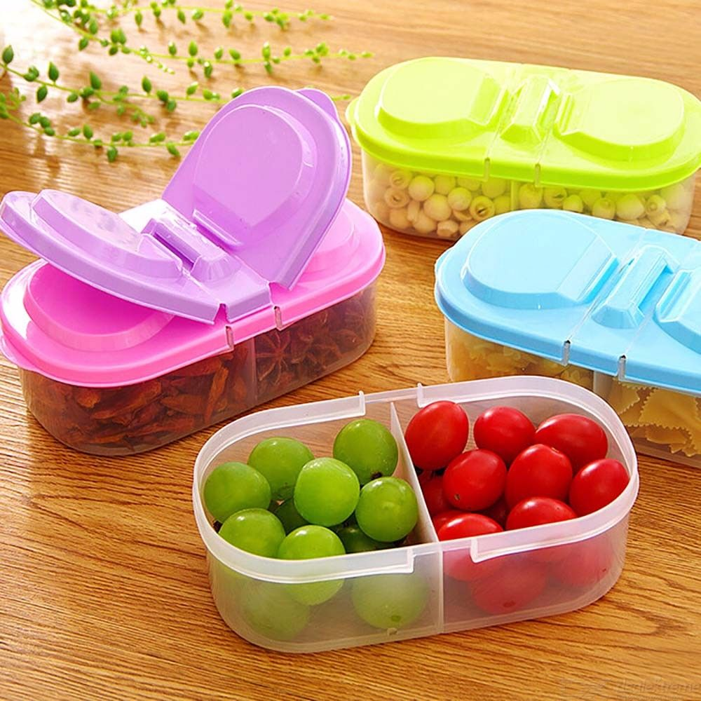 2 Compartment Storage Box With Lid, Multi Function Storage Container For Fruit And Snacks