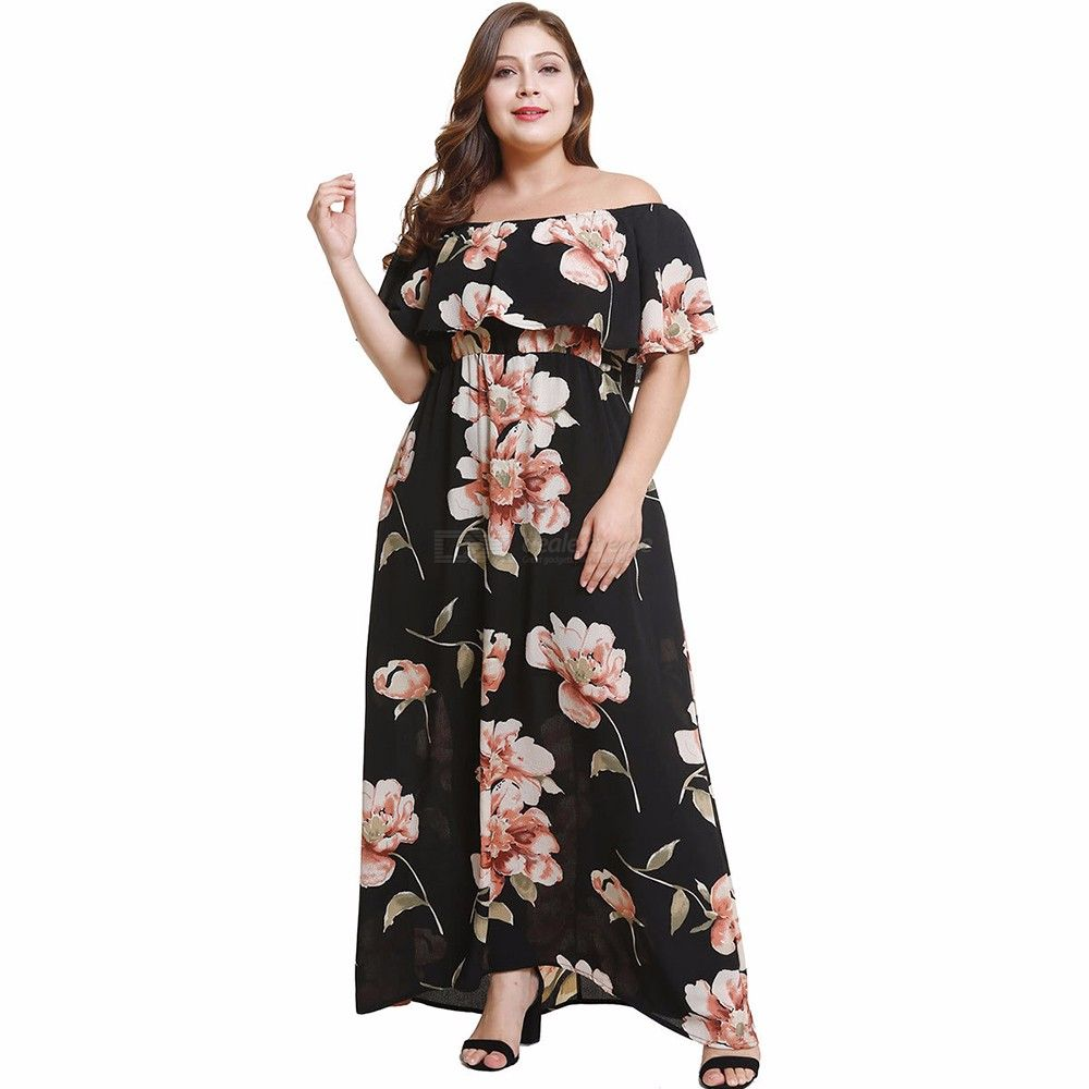 OS012 Womens Maxi Floral Print Off-the-shoulder Dress, Vintage-style Bohemian Dress With Butterfly Sleeve, Plus Size