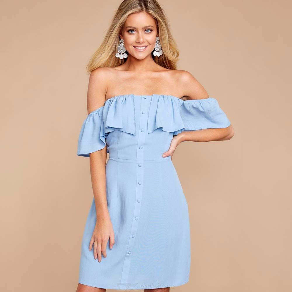 Womens Slash Neck Buttoned Dress With Front Ruffle, Solid Off-the-shoulder Dress With Button Closure