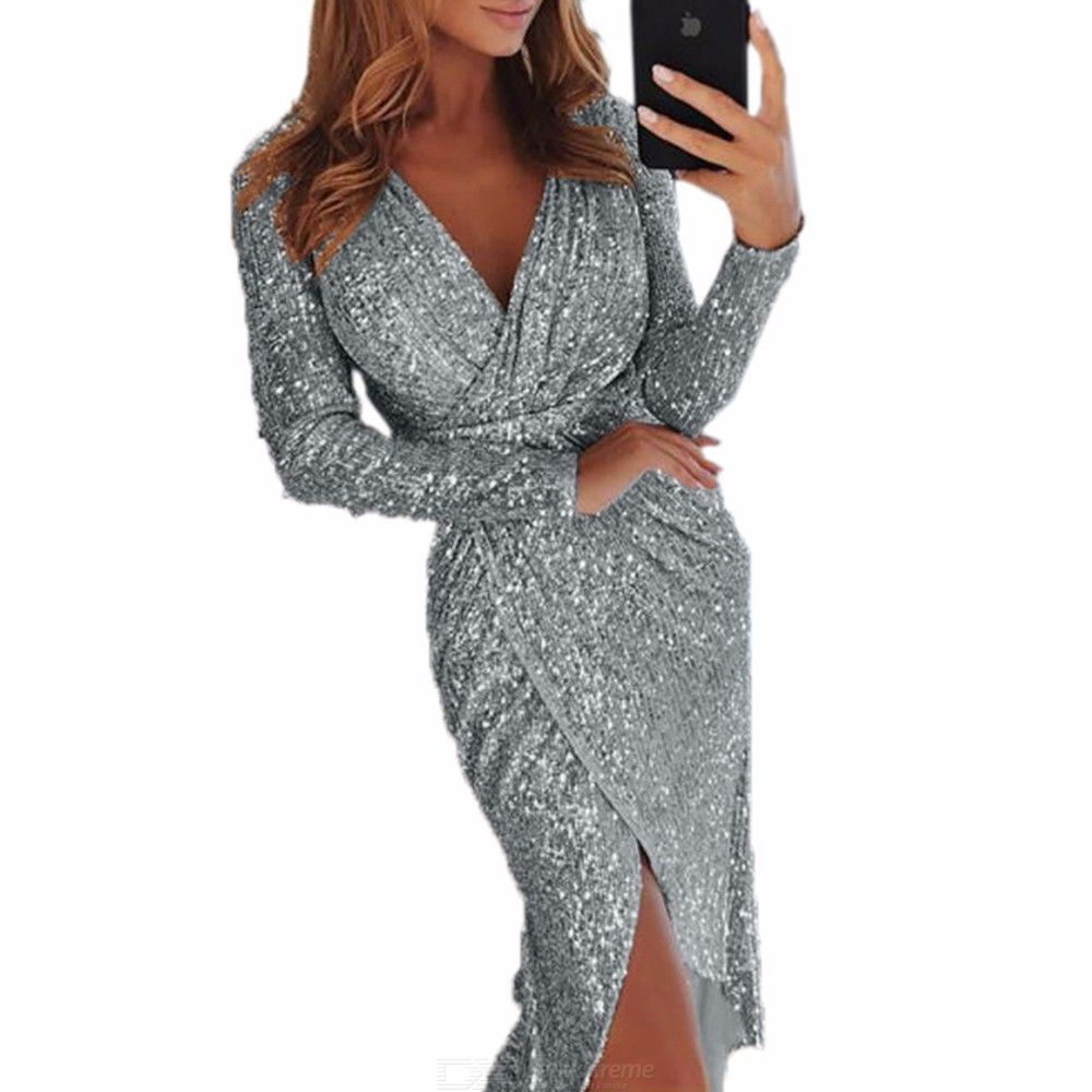 2e61a72d49c3 Womens V-neck Long Sleeve Sequin Dress, Solid Wrap Dress For Women PRICE -  $10.14 /piece by:DealExtreme Shipping: Free Shipping Exped.
