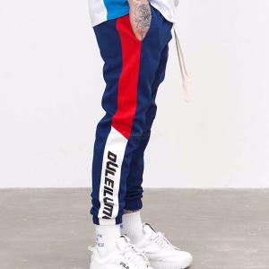 INF Mens Contrasting Casual Slim Fit Striped Slogan Drawing String Sports Pants