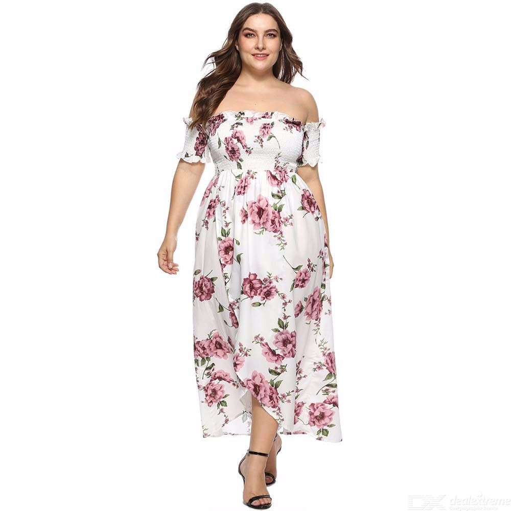 OS007 Womens Floral Print Off-the-shoulder Dress, Maxi Strapless Print Dress, Plus Size