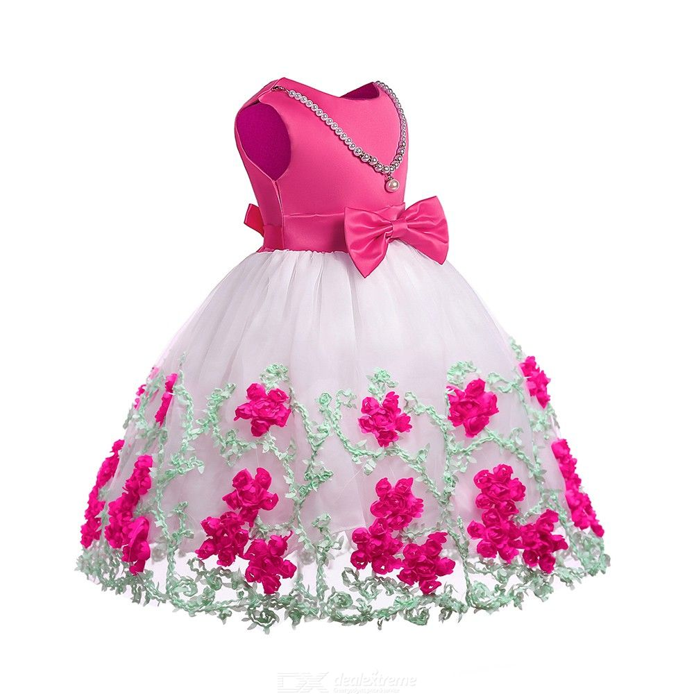 Chidrens-Round-Neck-Sleeveless-Bow-Dress-Cute-Embroidered-Mesh-Dress-With-Beaded-Necklace