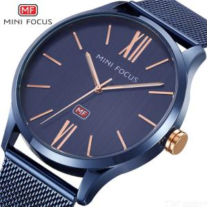MINI FOCUS MF0018G Casual Mens 39mm Waterproof Quartz Watch With Stainless Steel Watchband