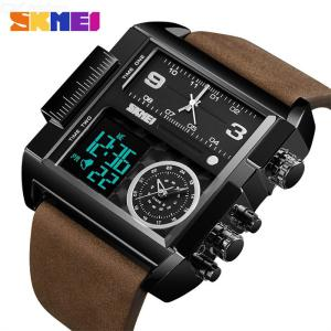 SKMEI 51mm Mens Casual Business Stainless Steel Watch With Leather Strap 1391