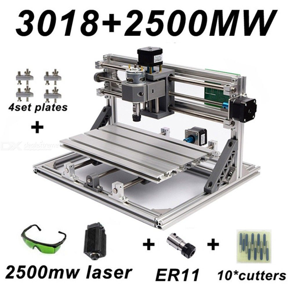 CNC3018-DIY-Laser-Engraving-PCB-Milling-Machine-Wood-Carving-Router(ER112b10Pcs-Cutters2b2500mw-Laser2bProtect-Glasses)
