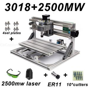 CNC3018 DIY Laser Engraving PCB Milling Machine Wood Carving Router(ER11+10Pcs Cutters+2500mw Laser+Protect Glasses)