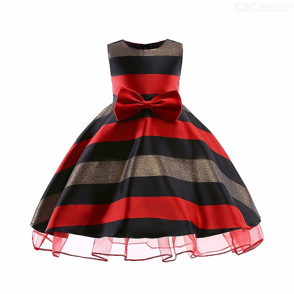 b8b9c9b3cca1 ... Childrens Round Neck Sleeveless Striped Dress, Girls High-rise Bow Evening  Dress ...