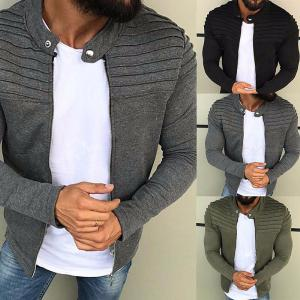European And American Men's Solid Color Striped Fold Panel Cardigan Sweatshirt Velvet Zip Slim Jacket