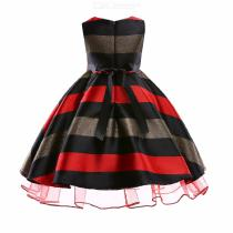 Childrens-Round-Neck-Sleeveless-Striped-Dress-Girls-High-rise-Bow-Evening-Dress