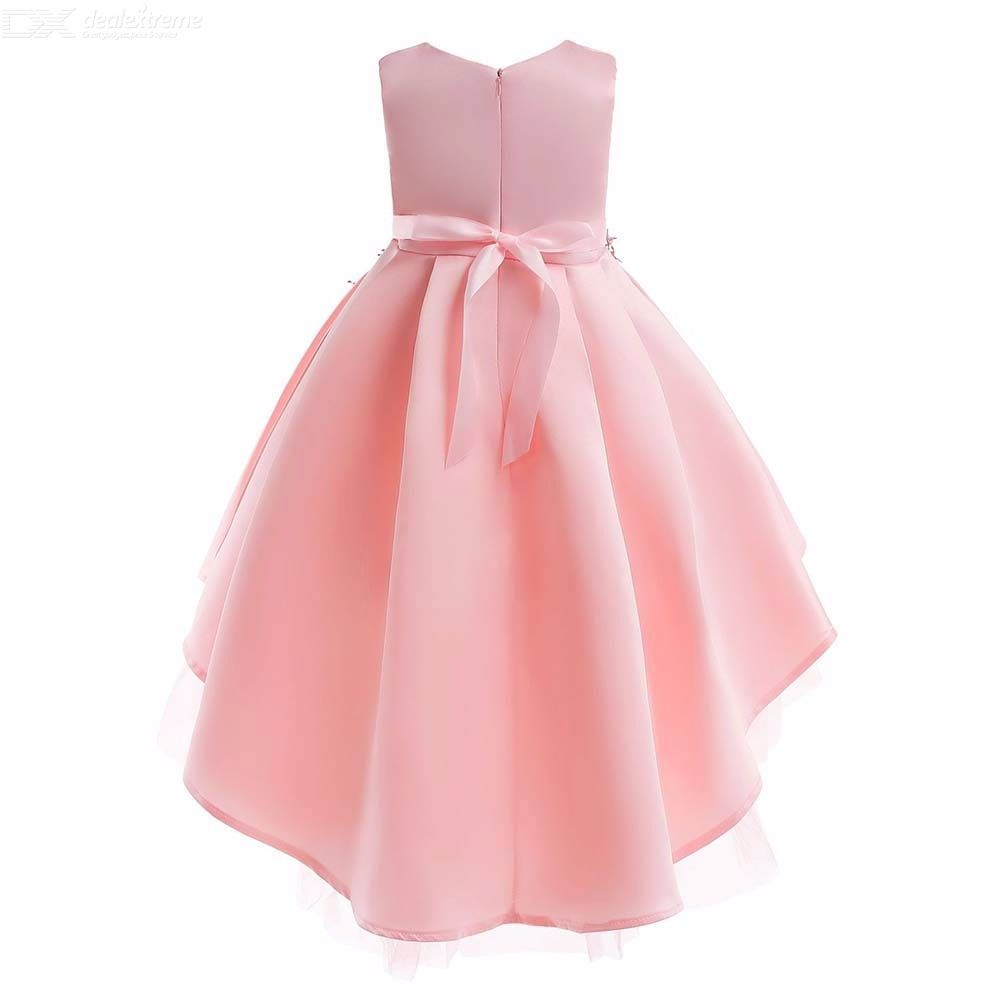 e6ab508d269c ... Childrens Round Neck Sleeveless Satin Dress With Front Applique, Girls  High-rise Bubble Gown