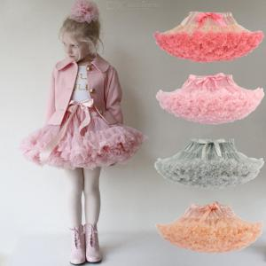 Childrens Cute Ruffled Skirt, Girls Solid Bow Mesh Bubble Gown