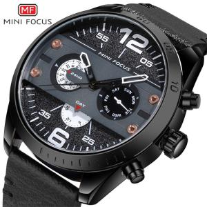 MINI FOCUS Sports Men Watches Fashion Military Waterproof Quartz Wristwatch 24 Hour Clock With Leather Strap MF0068G