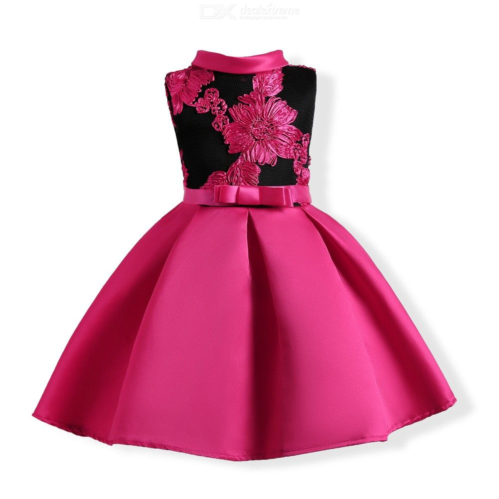 Childrens Double-layered Embroidered Dress, Girls High-rise Bow Evening Dress With Ruffles