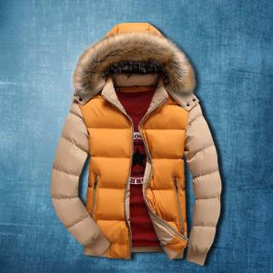 Autumn And Winter New Men's Down Jacket Big Fur Collar Can Take Off The Hat Warm Thickening Coat