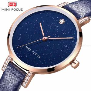 MINI FOCUS Luxury Women Watches Waterproof Quartz Dress Wristwatches With Leather Strap MF0159L